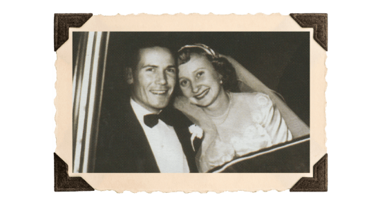 Wedding photo of Claude's daughter Gaynelle and Vernon Grizzard.