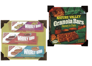 Early packaging examples of Southeastern Mills brands including Whirly Bird and Nature Valley Granola Bars