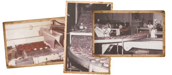 Collage of production lines at Parrish Bakeries.